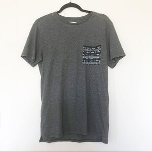 4/$25 On the byas deep grey graphic pocket tee 146